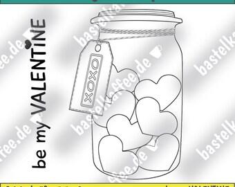 Be my Valentine - Digi stamps - glass heart