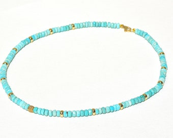 14k Pave Diamond Sleeping Beauty Turquoise Necklace