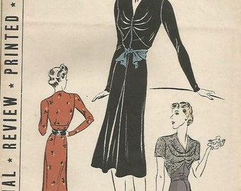 1940s High Waisted Dress Frock V Neckline Unused FF Pictorial Review 9515 Size 20 Bust 38 Women's Vintage Sewing Pattern