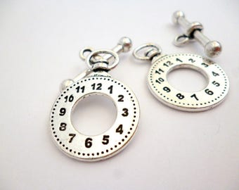 Silver Tone toggle clasp_PP1005887/3547_Silver Plated Watch silver toggle clasp of 33 mm pack 8 pcs
