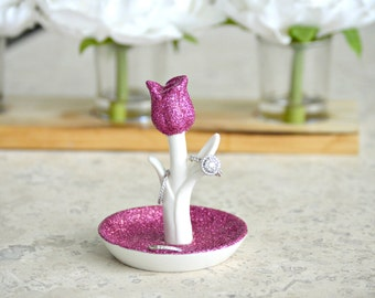 Flower Ring Holder, Custom Ring Holder, Wedding Ring Holder, Custom Ring Dish, Ring Holder, Jewelry Dish, Glitter Ring Holder,