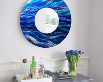 Contemporary Aqua Blue & Teal Circle Wall Mirror, Abstract Wall Decor, Modern Metal Wall Mirror Art - Mirror 111 by Jon Allen