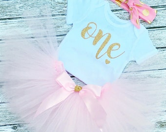 Baby Girl Pink 1st Birthday Outfit - 1st Birthday Girl Outfit - Pink and Gold Birthday Tutu - First Birthday Outfit Girl - Tutu Dress