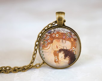 Mother and Child 1905 Painting Detail, Gustav Klimt Painting Necklace, 1900's Three Ages of Woman, Vintage Style Necklace Gift Necklace
