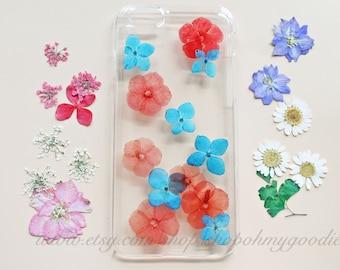 Red iPhone X Case, iPhone 8 Case Clear, Pressed Flower iPhone 8 Plus Case, Floral Phone Case, Phone Cover 7 Plus 6s Plus 6 Plus 5s 5 SE 5c