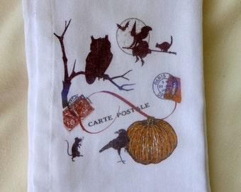 Halloween Flour Sack Towel - Tea Towel - Flour Sack Towel - Kitchen towel - Hostess Gift - dish towel - 100% cotton