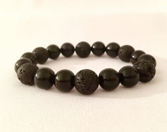 Black Onyx w/ Black Lava Stone