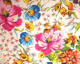 REMNANT--Stunning Fantasia Floral Print on White Pure Cotton Fabric--16 INCHES