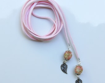 Long Leather Necklace,Lariat Necklace,Leather Wrap Choker, Resin Flower,Terrarium Necklace, Leather Necklace,Pink Leather Necklace