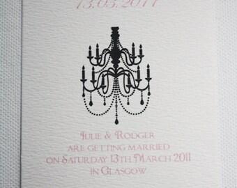 Chandelier Wedding Save the Dates x 10