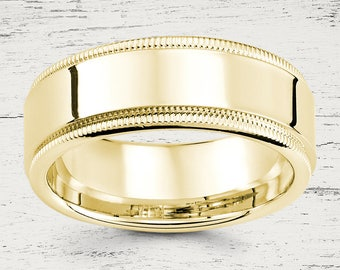 High Polish Finish 14K Solid Gold 8mm Wedding Band  - DC191-2