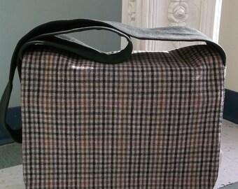 Taupe Check Plaid Wool Messenger Bag