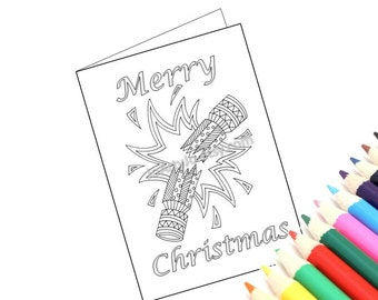 Printable Christmas Card to color, Zentangle Inspired Christmas Cracker. Christmas Arts and Crafts. Holiday Activity