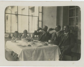 Men Drinking; Boys Not, 1928: Vintage Snapshot Photo RPPC [85674]