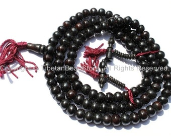 108 beads - Tibetan Black Bone Mala Prayer Beads with Bone Bell & Vajra Counters - 10mm - Tibetan Mala Beads - Mala Making Supplies - PB74