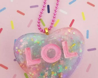 Kawaii Pastel Valentine's Day Sprinkle Conversation Heart Candy Necklace Pendant- several styles