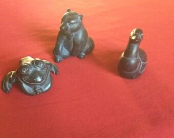 Argillite Figures Set of Three Animals