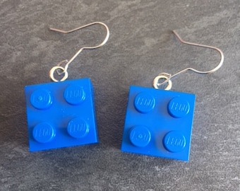 pair of blue lego earrings