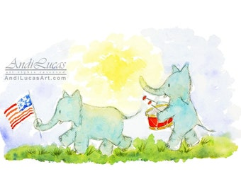 Elephant Marching Band  Elephant Parade Original signed watercolor Watercolour painting Cute elephant illustration Patriotic elephant art