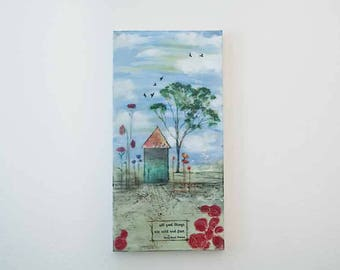 """Encaustic Painting.  """"Grow Wild"""", Sweet Home collection, Mixed Media, 10x20"""