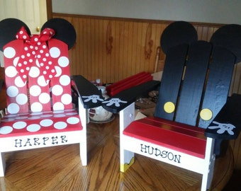 Mickey and Minnie Mouse Adirondack Chairs hand painted for Toddler