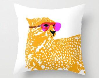"""Cheetah On Throw Pillow 18"""" x 18""""   -  Novelty pillows, throw pillows, nursery pillows, cheetah, nursery throw pillows"""