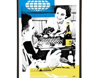 "Stewardess Cart pop art print - the ""Mid-Century Jet Set"" collection inspired by retro air travel - Bar Cart Art"
