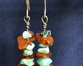 Turquoise and Amber earrings - Genuine stones