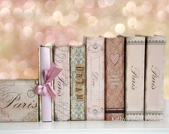 Blush Pink Books Photography, Paris Books Love Dream Wall Print, Book Lovers Wall Art Prints, Paris Books Photography, Paris Nursery Decor
