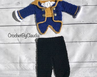 Crochet The Beast Inspired PhotoProp Set/ Beauty and the Beast Newborn Costume/Made to Order