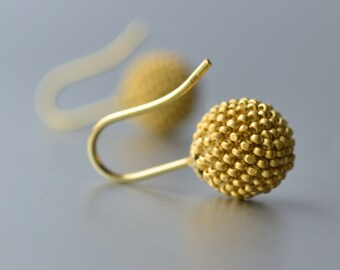 globe earrings gold satin