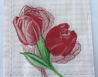 20 Red tulips and white background Pink White GINGHAM art paper napkins   3547