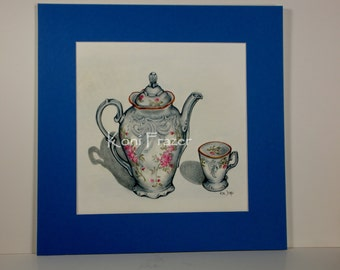 Teapot and teacup art, My Cup of Tea, ready to frame, matted in blue