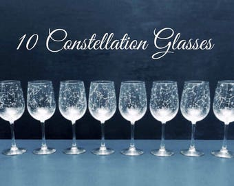 Set of 10 Handpainted Star Constellation Wine Glasses - Custom Order Your Own Set