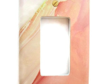 Light Switch Cover, Single Switch Plate, Rocker Switchplate, Marbled Shades of Tangerine, Beige and Orange Sherbet