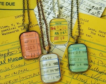 Vintage Library Due Date Card Necklace or Key Ring (Set 1)