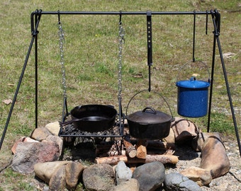 """Large Folding Campfire Cooking Set - 50"""" wide"""