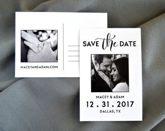 Black White Save the Date Postcard