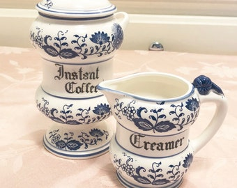 Blue And White Ceramic Coffee And Creamer Set Holland Ceramics Set Of Two Instant Coffee Canister And Creamer Set