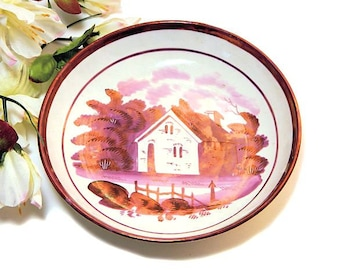 Early 19th Century Staffordshire Pink Luster Deep Sipping Saucer House