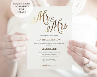 Gold Wedding Invitation templates, Printable wedding invitations, Instant download invitation, Elegant invitations, Beautiful design, PDF