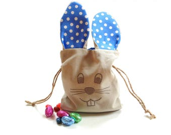 Easter bunny bag, long ear bunny, Easter bag with ears, drawstring bag, goodie bag, blue polka dots, small gift bag, candy bag