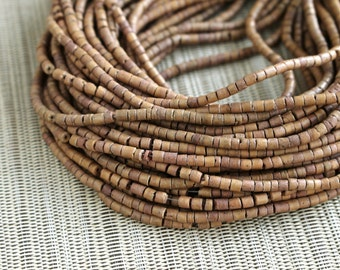 3-4mm Light Brown Coconut Shell Heishi Beads - Dyed and Waxed - 23 inch strand