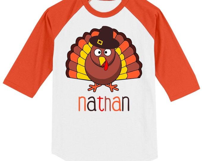 Thanksgiving T shirt - 3/4 sleeve baseball style raglan, customized with name