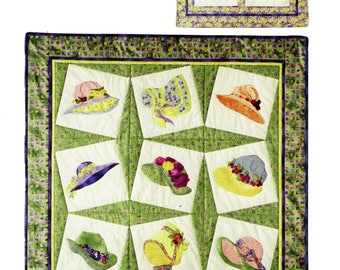Hats Off Quilt Pattern, Custom Creations Quilt Pattern,Cindy Surina Quilt Pattern, Wallhanging Pattern