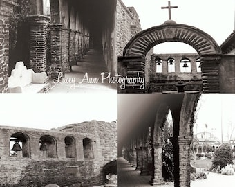 Mission Photo Set of four San Juan Capistrano black and white home decor