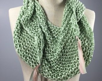 Wearable Fiber Art, Mindful Wrap-Soft Green Bamboo Mindfulness Mantle with Hand-dyed Silk Ribbon and Green Amethyst Beads