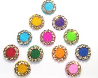 Round Colored Bindis,indian bindi ,Round Bindis,Velvet Colorful Bindis,Multicolor Face Jewels Bindis,Bollywood Bindis,Self Adhesive Stickers