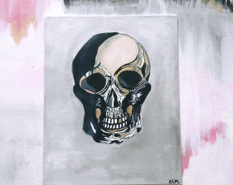 Skull painting on canvas board