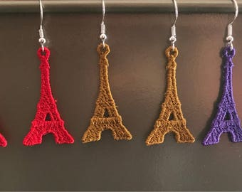 Eiffel Tower machine embroidered earrings